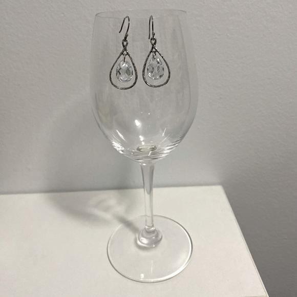 Sterling Silver & Crystal Drop Earrings